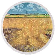 Wheatfield With Sheaves Round Beach Towel