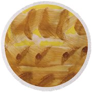 Round Beach Towel featuring the painting Wheatfields  by Don Koester
