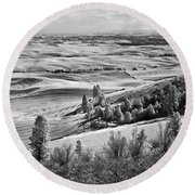 Wheatfields Of Kamiak Butte Round Beach Towel