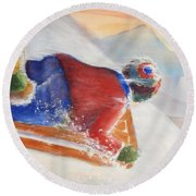Wheee Round Beach Towel by Marilyn Jacobson