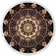 Wheel Of Life Mandala Round Beach Towel