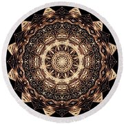 Wheel Of Life Mandala Round Beach Towel