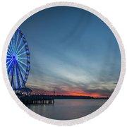 Wheel On The Pier Round Beach Towel