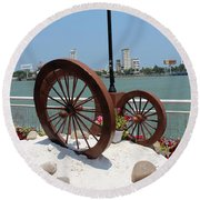 Wheels By The Water Round Beach Towel