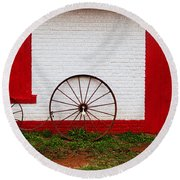 Round Beach Towel featuring the photograph Wheels Ready  by Toni Hopper