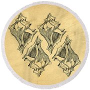 Round Beach Towel featuring the digital art Whelk Seashells Vintage by Edward Fielding