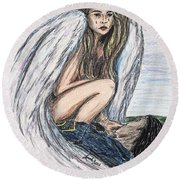 When Angels Cry Round Beach Towel