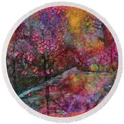 When Cherry Blossoms Fall Round Beach Towel by Donna Blackhall
