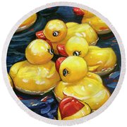 Round Beach Towel featuring the painting When Ducks Gossip by Lesley Spanos