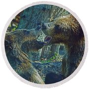 When Grizzlies Play II Round Beach Towel by Larry Nieland