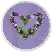 Round Beach Towel featuring the mixed media When Love Is New by Nancy Lee Moran