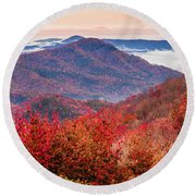 Round Beach Towel featuring the photograph When Mountains Sing by Karen Wiles