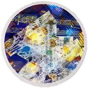 Round Beach Towel featuring the digital art When Music And Art Embrace by Margie Chapman
