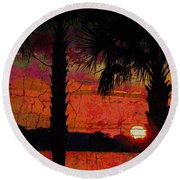 When The Day Ends Time Is Exhausted Round Beach Towel