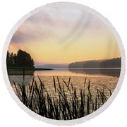 When The Day Is Dawning At The Lake Enajarvi Round Beach Towel