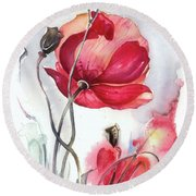 Round Beach Towel featuring the painting When The Mists Fall Down by Anna Ewa Miarczynska