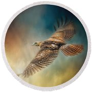 When The Redtail Flies At Sunset Hawk Art Round Beach Towel