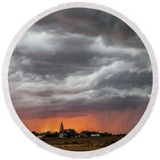 When Trouble Rises.....  Round Beach Towel