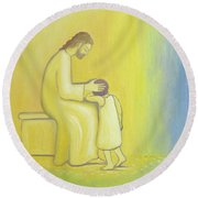 When We Repent Of Our Sins Jesus Christ Looks On Us With Tenderness Round Beach Towel