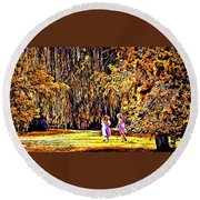 When We Were Young... Round Beach Towel by Barbara Dudley