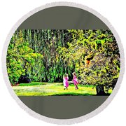 When We Were Young II Round Beach Towel