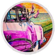 Round Beach Towel featuring the painting When We Were Young by Viktor Lazarev
