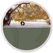 Round Beach Towel featuring the photograph When Winter Blooms by Karen Wiles