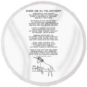 Round Beach Towel featuring the drawing Where Are All The Unicorns by John Haldane
