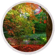 Where Autumn Lingers  Round Beach Towel