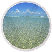 Where Crystal Clear Ocean Waters Meet The Sky Round Beach Towel