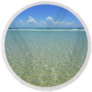 Where Crystal Clear Ocean Waters Meet The Sky Round Beach Towel