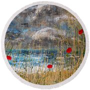 Where Poppies Blow Detail Round Beach Towel