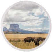 Where The Buffalo Roam Round Beach Towel