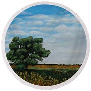 Where The Fields Meet Round Beach Towel