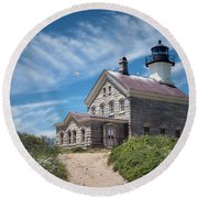Round Beach Towel featuring the photograph Where The Gulls Are by Robin-Lee Vieira