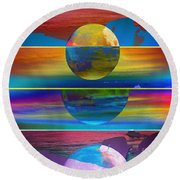Where The Land Ends Round Beach Towel