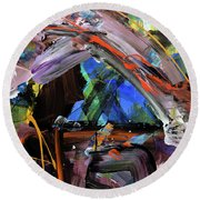 Where The Smiles Roam Abstract  Round Beach Towel