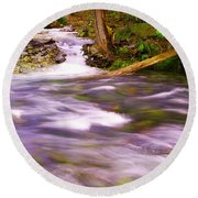 Round Beach Towel featuring the photograph Where The Stream Meets The River by Jeff Swan