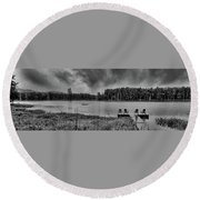 Round Beach Towel featuring the photograph Where To View Twin Ponds by David Patterson