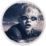 Round Beach Towel featuring the digital art Where Will He Swim Tomorrow by Chris Armytage
