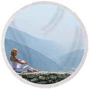 Where You Touch The Sky Round Beach Towel