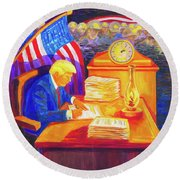 While America Sleeps - President Donald Trump Working At His Desk By Bertram Poole Round Beach Towel