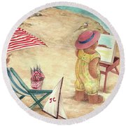 Whimsical Bear On The Beach Round Beach Towel