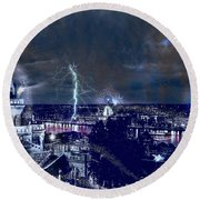 Whimsical Budapest Round Beach Towel