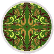 Whimsical Organic Pattern In Yellow And Green I Round Beach Towel