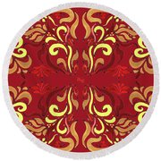 Whimsical Organic Pattern In Yellow And Red II Round Beach Towel