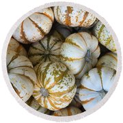 Whimsical Pumpkins Round Beach Towel by Russell Keating