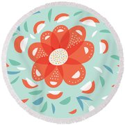 Whimsical Red Flower Round Beach Towel