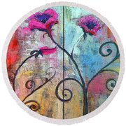 Round Beach Towel featuring the painting Whimsical Rose Tree by Lisa Kaiser