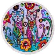 Whimsical Talavera Cats Round Beach Towel